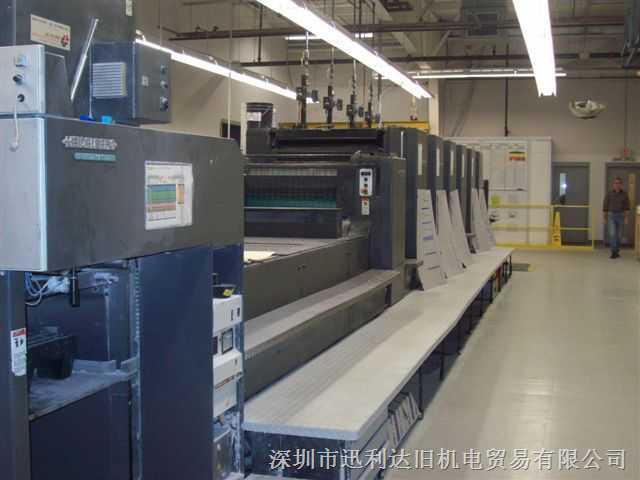 海德堡对开六色加过油二手进口印刷机